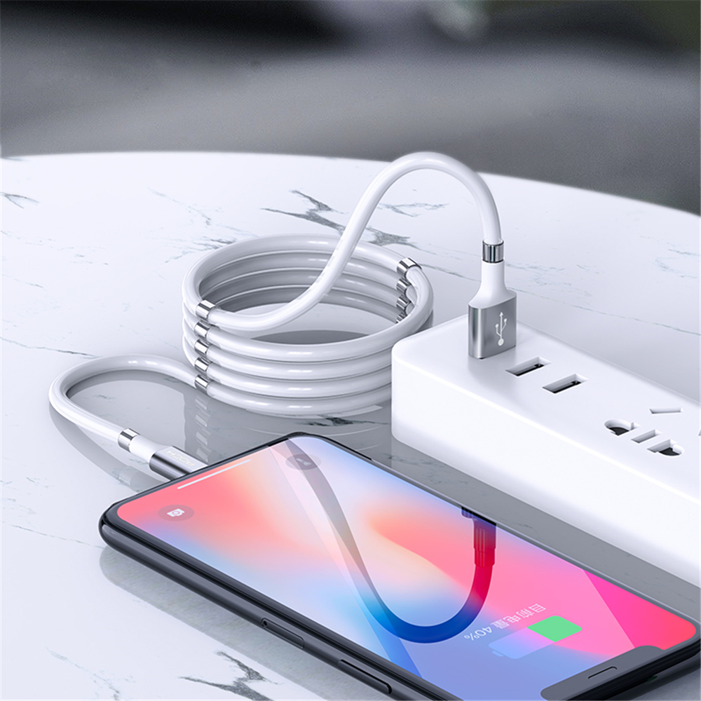 ROCK Easy Self Storing Magic Magnetic Cable Magnetic Magic Rope Magnetic Phone Charger Cable